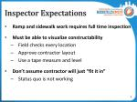inspector expectations