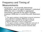 frequency and timing of measurements