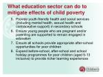 what education sector can do to mitigate effects of child poverty