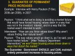 3 guarantee of permanent price increases