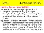 step 3 controlling the risk