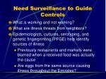 need surveillance to guide controls