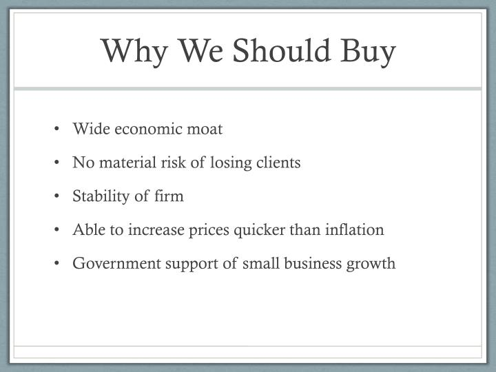 Why We Should Buy