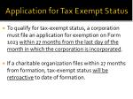 application for tax exempt status