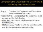 completing the organizational documents obtaining tax exempt status