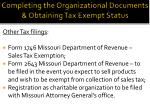 completing the organizational documents obtaining tax exempt status1