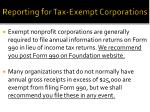 reporting for tax exempt corporations