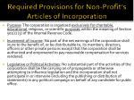 required provisions for non profit s articles of incorporation