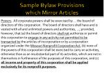 sample bylaw provisions which mirror articles