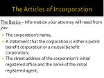 the articles of incorporation