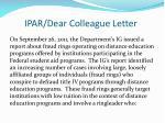 ipar dear colleague letter