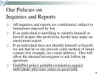 our policies on inquiries and reports