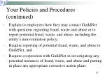 your policies and procedures continued