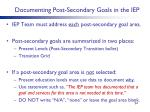 documenting post secondary goals in the iep