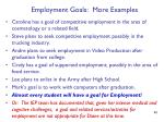 employment goals more examples