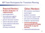 iep team participants for transition planning
