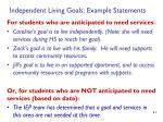 independent living goals example statements