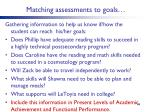 matching assessments to goals