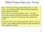 phillip s progress reporting writing