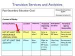 transition services and activities
