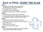back to pdsa work the plan