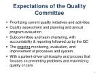 expectations of the quality committee