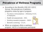 prevalence of wellness programs