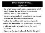 small experiments big vision