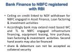bank finance to nbfc registered with rbi
