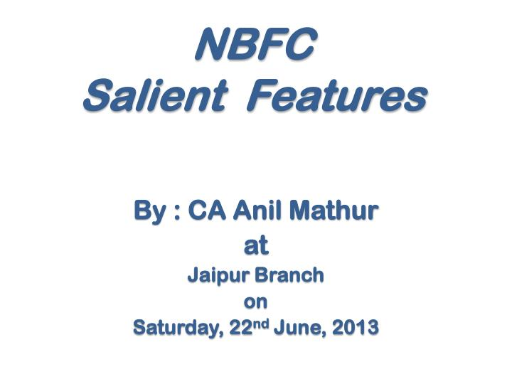 nbfc salient features n.