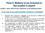 para 3 matters to be included in the auditor s report