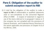 para 5 obligation of the auditor to submit exception report to rbi