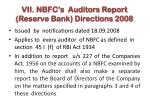 vii nbfc s auditors report reserve bank directions 2008