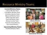 resource ministry teams