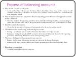 process of balancing accounts