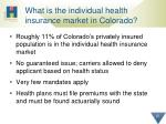 what is the individual health insurance market in colorado