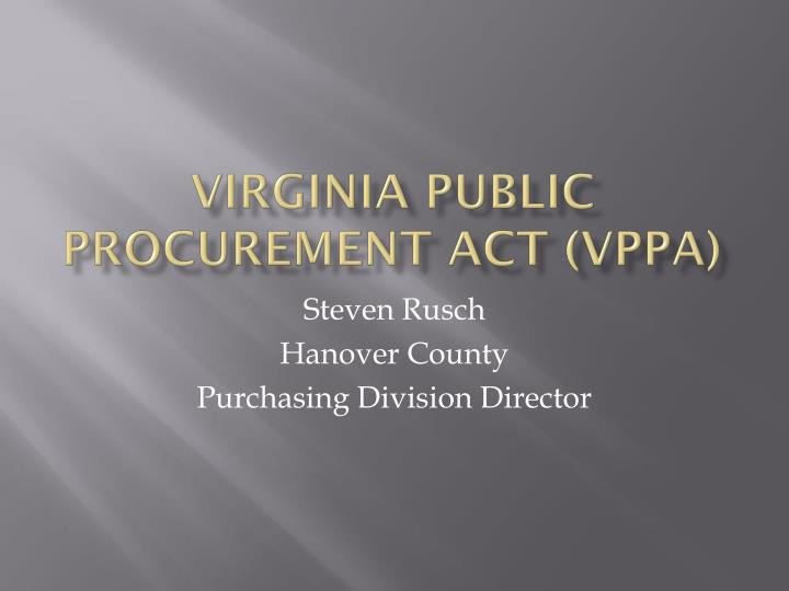 virginia public procurement act vppa n.