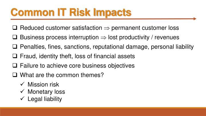 Common IT Risk Impacts