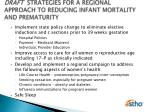 draft strategies for a regional approach to reducing infant mortality and prematurity