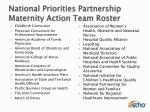 national priorities partnership maternity action team roster