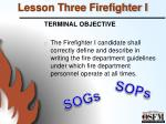 lesson three firefighter i