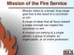 mission of the fire service