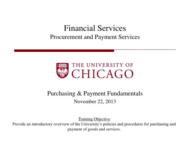 financial services procurement and payment services n.
