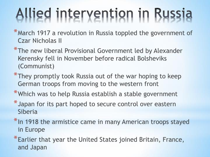 March 1917 a revolution in Russia toppled the government of Czar Nicholas