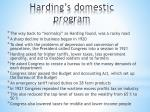 harding s domestic program