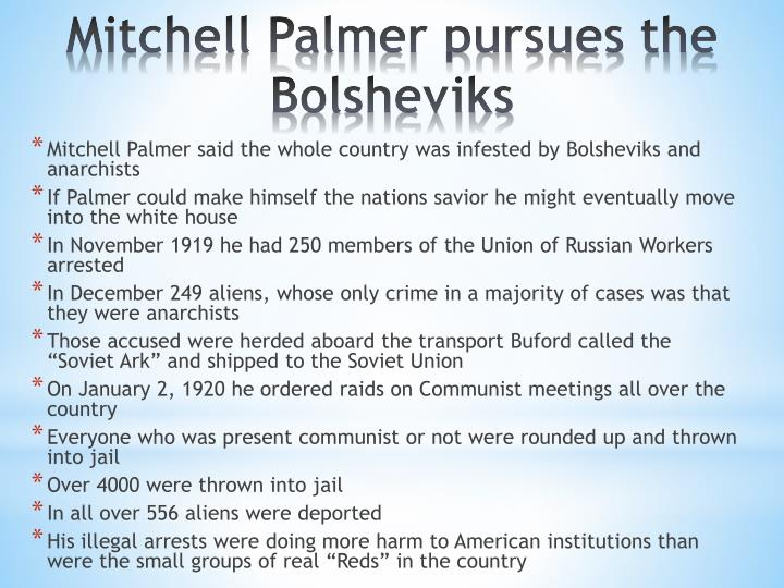 Mitchell Palmer said the whole country was infested by Bolsheviks and anarchists