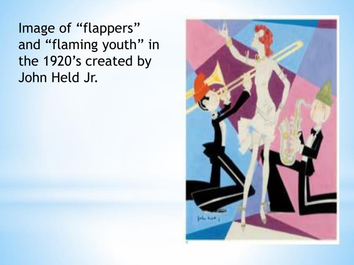 """Image of """"flappers"""" and """"flaming youth"""" in the 1920's created by John Held Jr."""