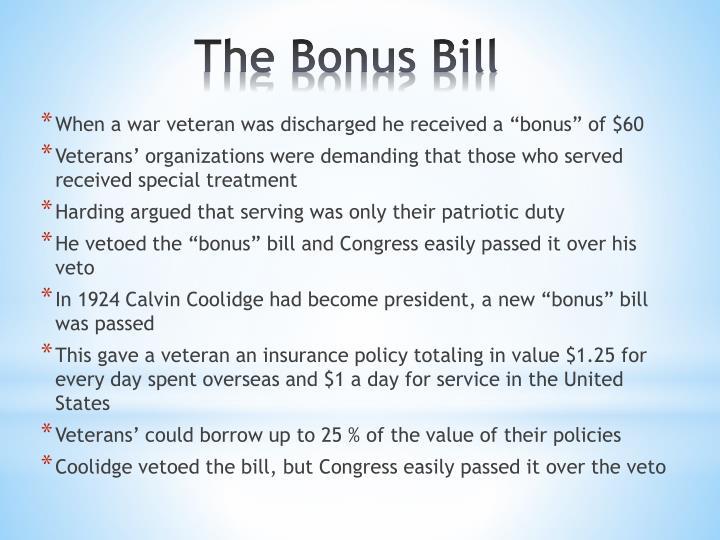 """When a war veteran was discharged he received a """"bonus"""" of $60"""