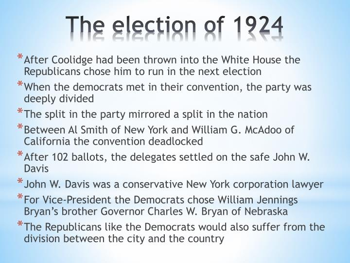 After Coolidge had been thrown into the White House the Republicans chose him to run in the next election