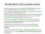 vocabulaire actif syntaxe active